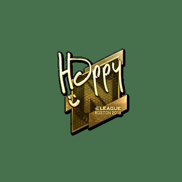 Sticker | Happy (Gold) | Boston 2018